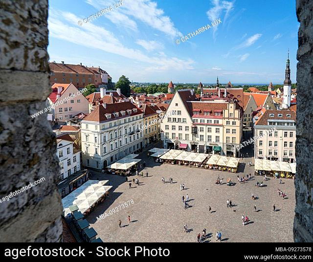 Estonia, Tallinn, view from the town hall towards the old town and town hall square, panorama