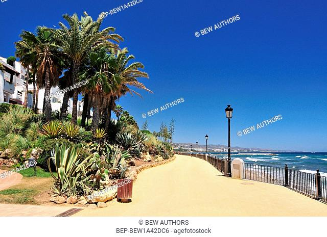 Promenade beach along the Mediterranean sea in Marbella, Andalusia, Spain