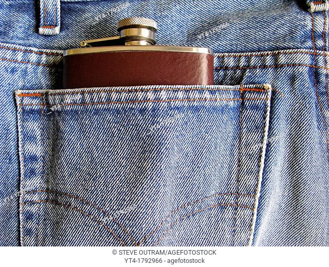 Drinking Flask in Denim Jeans Back Pocket