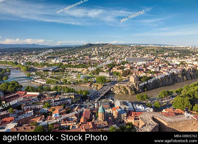 Georgia, Tbilisi, high angle city skyine from Narikala Fortress, late afternoon