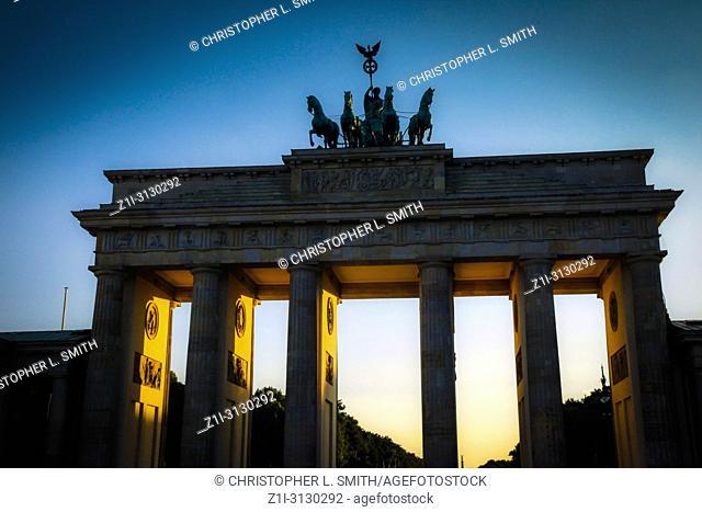 The Brandenburg Gate at sunset in Berlin Germany