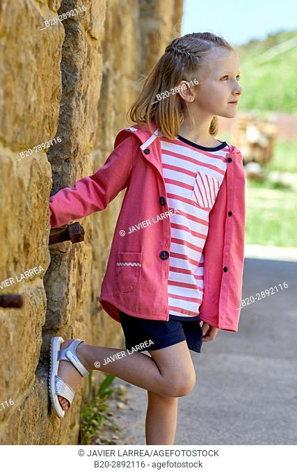 Girl, Mollarri Interpretation Center, Marine clothing, Zarautz, Gipuzkoa, Basque Country, Spain, Europe