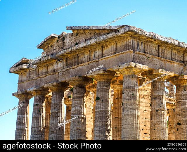 The Greek doric style temple of Neptune - Archaeological Area of Paestum - Salerno, Italy