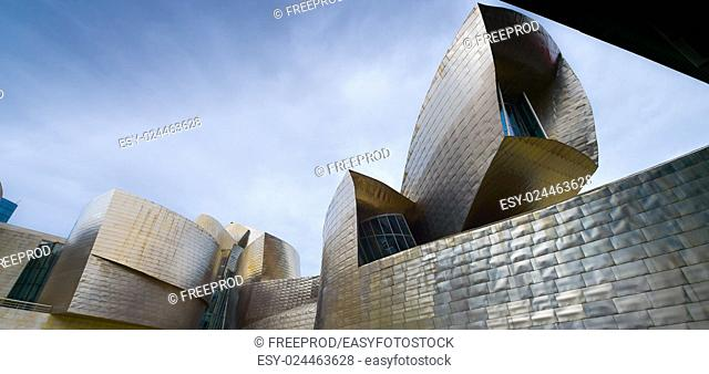 Bilbao, Spain view of modern and contemporary art Guggenheim Museum, designed by American architect Frank Gehry