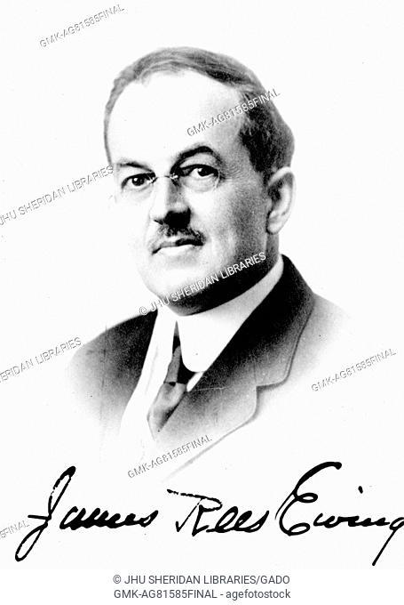 Shoulders up portrait of history, politics, and philosophy scholar James Rees Ewing, 1899