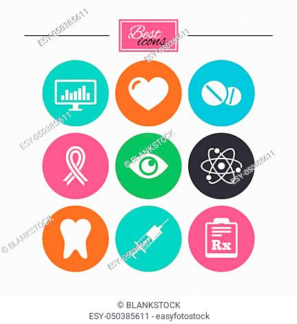 Medicine, medical health and diagnosis icons. Syringe injection, heart and pills signs. Tooth, awareness ribbon symbols. Colorful flat buttons with icons