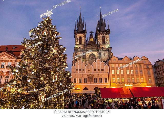 Old Town Square, Christmas market and tre, Prague, Czech Republic