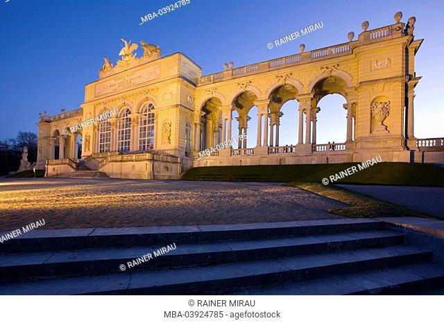 Austria, Vienna, palace Schönbrunn, palace-park, Gloriette, buildings, evening-mood