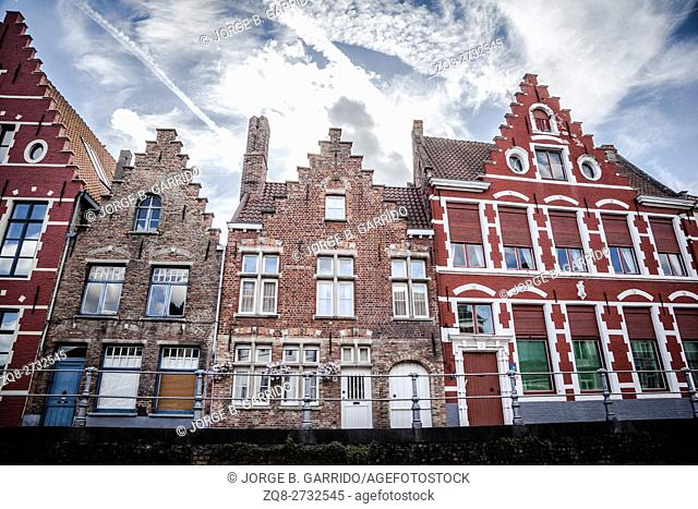 Row of traditional style houses in Brugge, Belgium