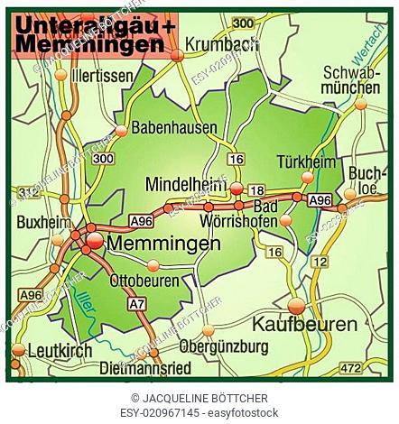 Karte von Unterallgaeu-Memmingen mit Verkehrsnetz