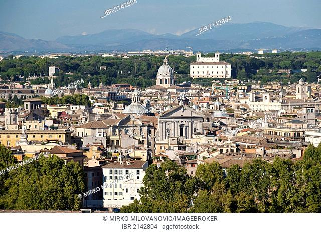 View from Gianicolo, Janiculum Hill, over Rome in the early evening light, Rome, Italy, Europe