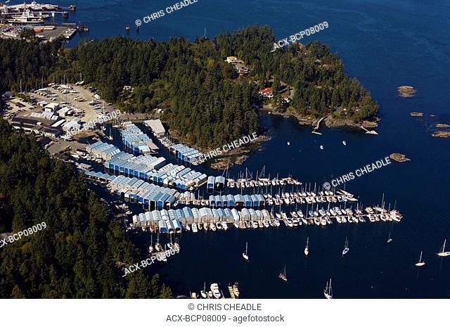 Canoe Cove Marina aerial, near Sidney, Vancouver Island, British Columbia, Canada