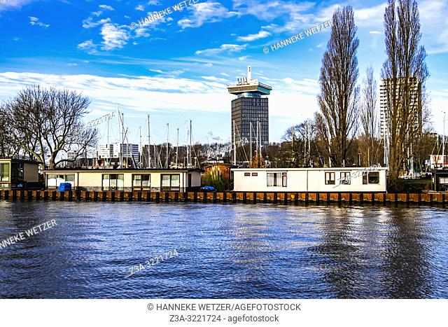 Houseboats in Amsterdam North, The Netherlands, Europe