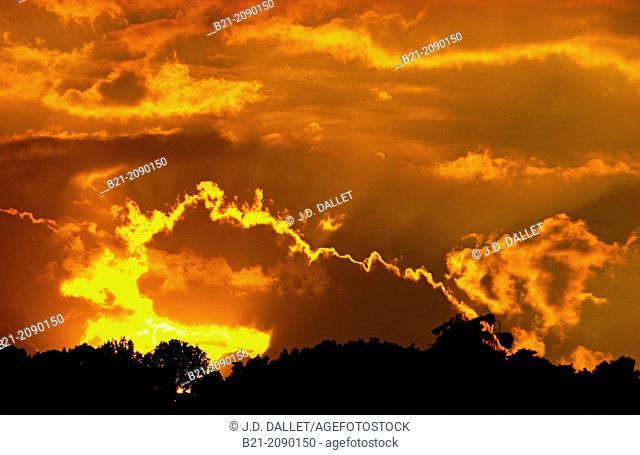 Sunset at Montignac, Dordogne, Aquitaine, France