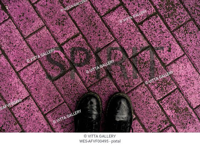 Black shoes on purple pavement with stenciled word 'Spirit'