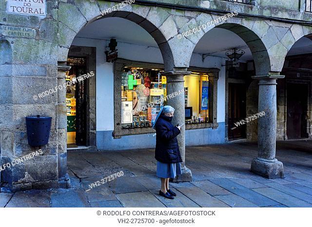 Nun on the street, Santiago de Compostela