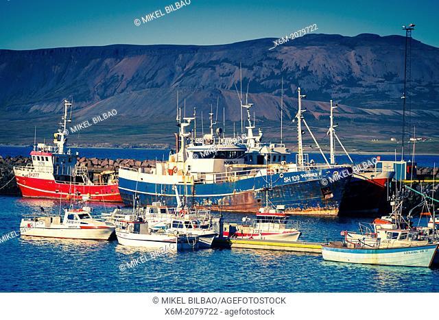 Fishing port. Grundarfjordur village. Snafellsnes peninsula. Iceland, Europe