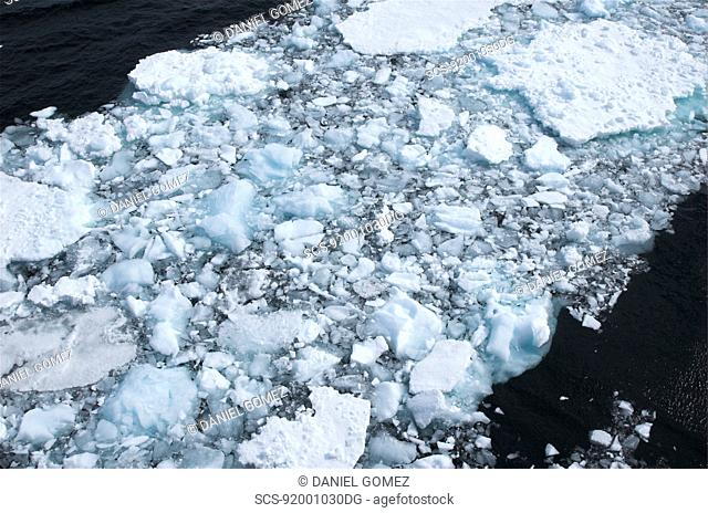Looking down on pack ice near Lemaire Strait, Antarctic Peninsula RR