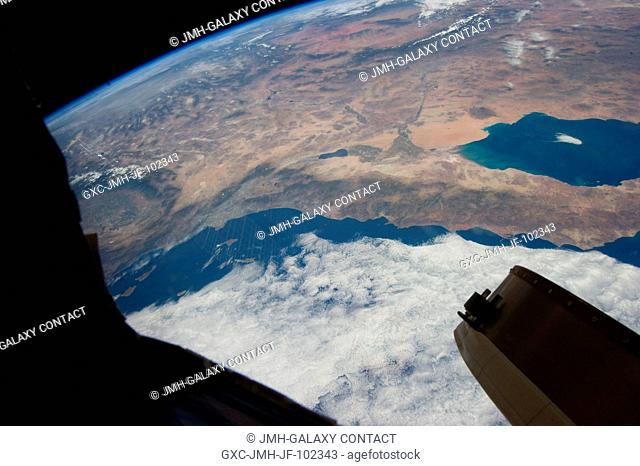 This oblique Expedition 35 image from the International Space Station shows parts of Mexico, California and Nevada. The Los Angeles Basin can be easily...
