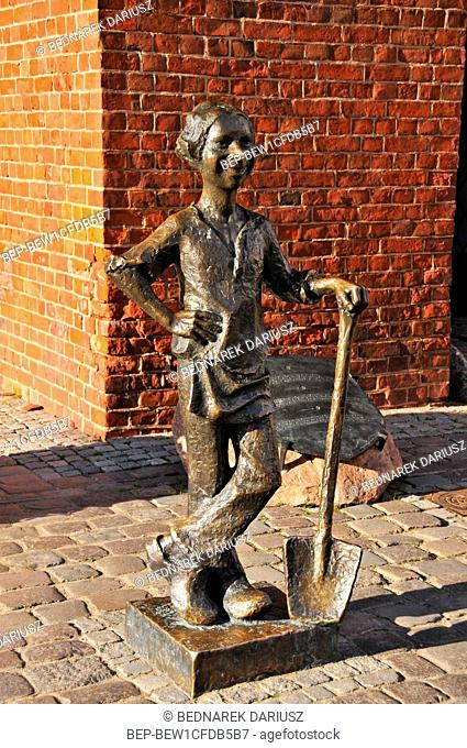 Piekarczyk with shovel monument in Elblag, Warmian-Masurian Voivodeship. Poland