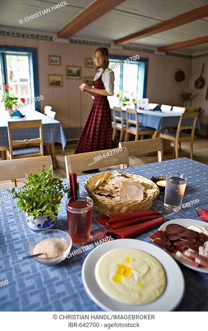 Rømmegrøt and Spekemat, traditional meal at an open air (living history) museum in Fagernes, Norway, Scandinavia, Europe