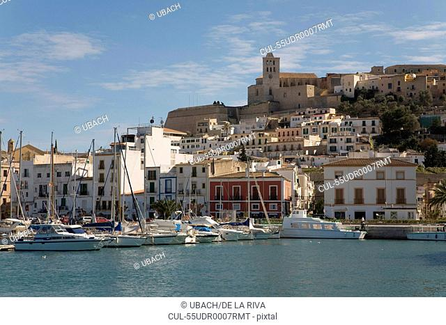 View of Dalt Vila, Cathedral and Harbour, Ibiza Town, Ibiza