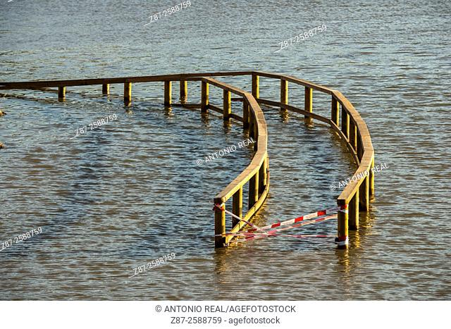 Flooding, Almansa reservoir, Albacete province, Castilla-La Mancha, Spain