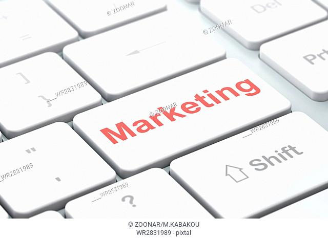 Marketing concept: Marketing on computer keyboard background