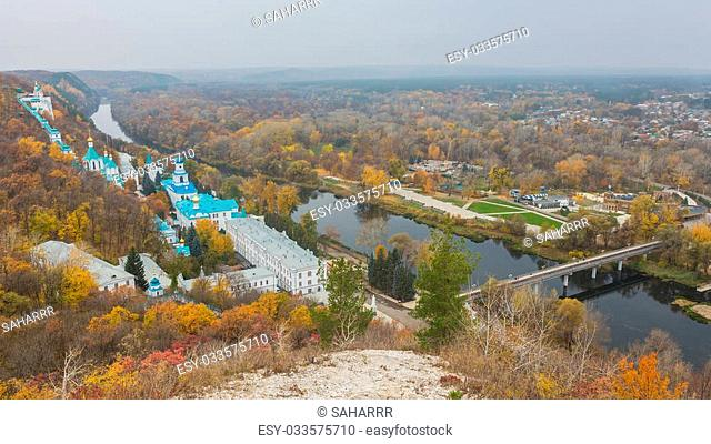 Orthodox church in Svyatogorsk, Donetsk Region, Ukraine, autumn landscape