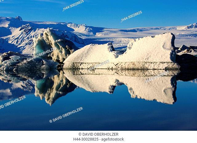 Breidamerkurjökull, ice, floes, Europe, glacier, glacier lagoon, Island, Jökulsarlón, sceneries, reflexion, volcano island, water, winter