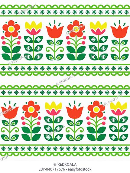 Tulips and flowers retro background inspired by Scandinavian and Nordic art