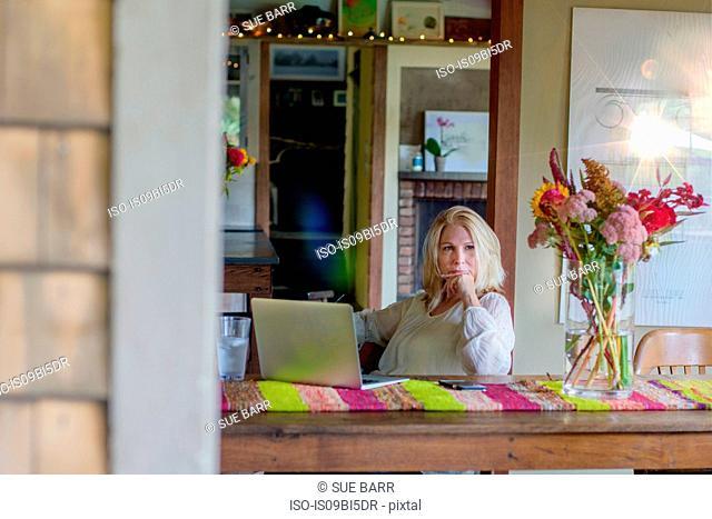 Woman at desk using laptop computer