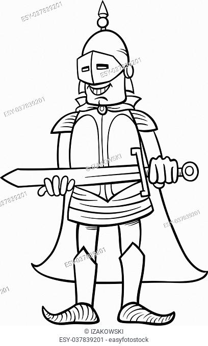 Black and White Cartoon Illustration of Knight in Armor with Sword for Coloring Book