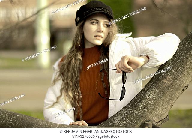 young cool woman, in city Cottbus, Brandenburg, Germany