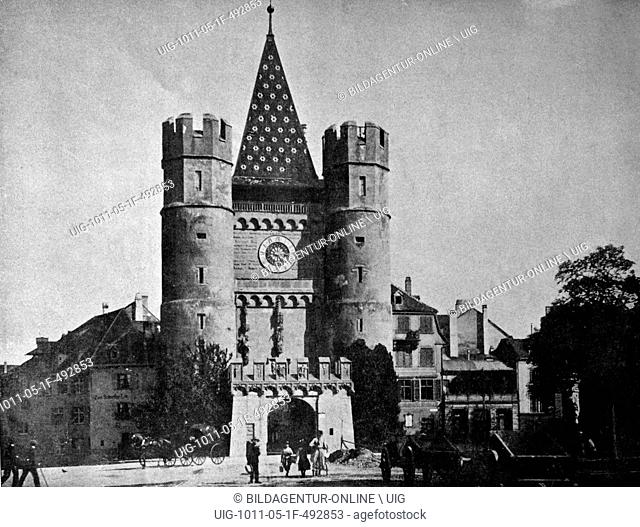One of the first autotype prints, spalentor gate in basel, historic photograph, 1884, switzerland, europe