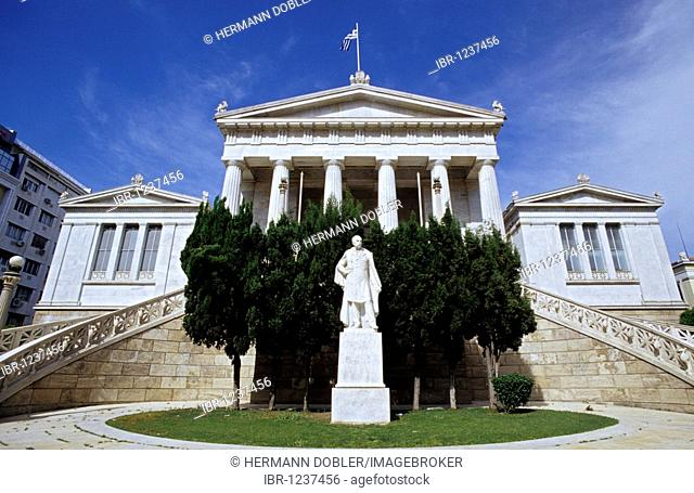 National Library with statue of Father Vallianos, who financed the construction of Athens, Greece, Europe