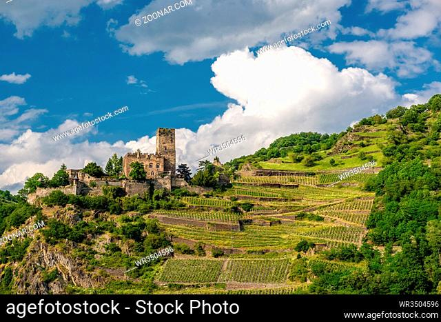 Gutenfels (Caub) Castle and vineyards at Rhine Valley (Rhine Gorge) near Kaub, Germany. Built in 1220