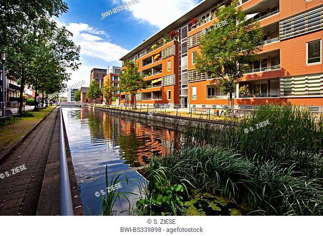 residential buildings in inner harbour, Germany, North Rhine-Westphalia, Ruhr Area, Duisburg