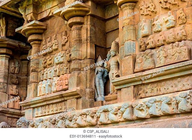 part of wall Great architecture ancient Gangaikonda Cholapuram T