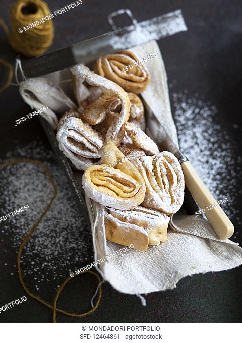 Tagliatelle fritte di carnevale (deep-fried tagliatelle, Italy)