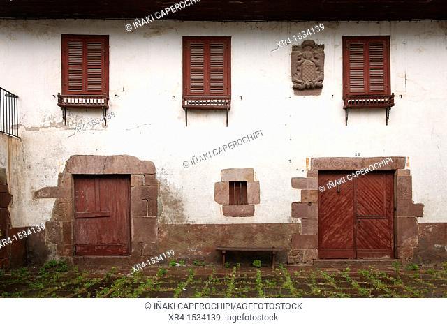 Basque Farm facade, Arizkun, Baztan, Navarre, Spain