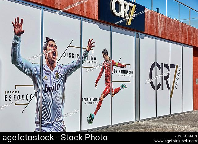 FUNCHAL, MADEIRA, PORTUGAL - NOVEMBER 09, 2017: Cristiano Ronaldo Pestana CR hotel and museum on Funchal waterfront of the Portuguese island of Madeira