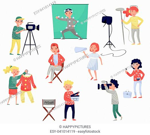 Members of film crew. Producer on chair, cameraman with equipment, costume designer, make-up artist. Movie making industry. Professionals at work