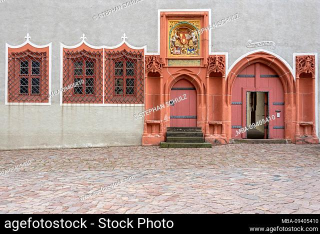 Germany, Saxony, Meissen, view of the entrance to the Hochstift Meissen, outbuilding of the Albrechtsburg, oldest castle in Germany