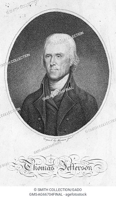 Engraved portrait of Thomas Jefferson, draftsman of the US Declaration of Independence and the nation's third president, 1880