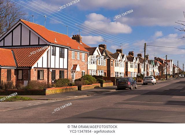 A row of pretty houses in Southwold , Suffolk , England , Britain , Uk