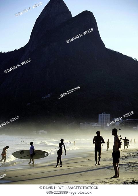 Tourists at the beach, Rio De Janeiro, Brazil
