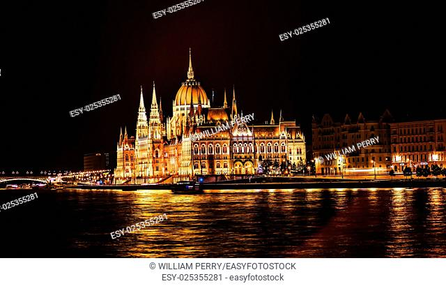 Parliament Building Boats Margaret Bridge Danube River Reflection Budapest Hungary. Parliament Building built betwwn 1885 to 1904