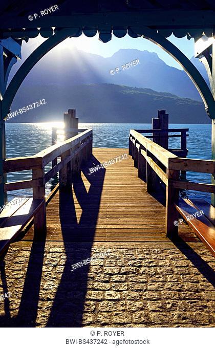 Landing stage in Saint Jorioz village at the lake of Annecy in Haute Savoy, France, Savoie, Haute Savoy, Saint Jorioz