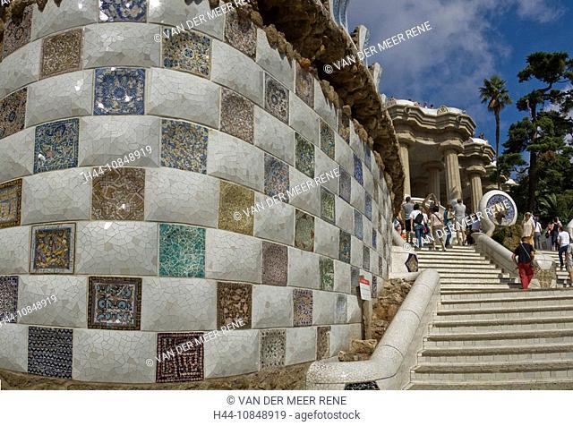 Spain, Europe, Park Guell, Barcelona, Costa Brava, Catalonia, city, town, Summer, People, Gaudi, tourist attraction